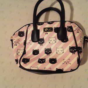 Betty Johnson light pink purse w/w/strips kitty